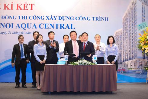 Tập đoàn Xây dựng Hòa Bình ký kết hợp đồng thi công Hanoi Aqua Central