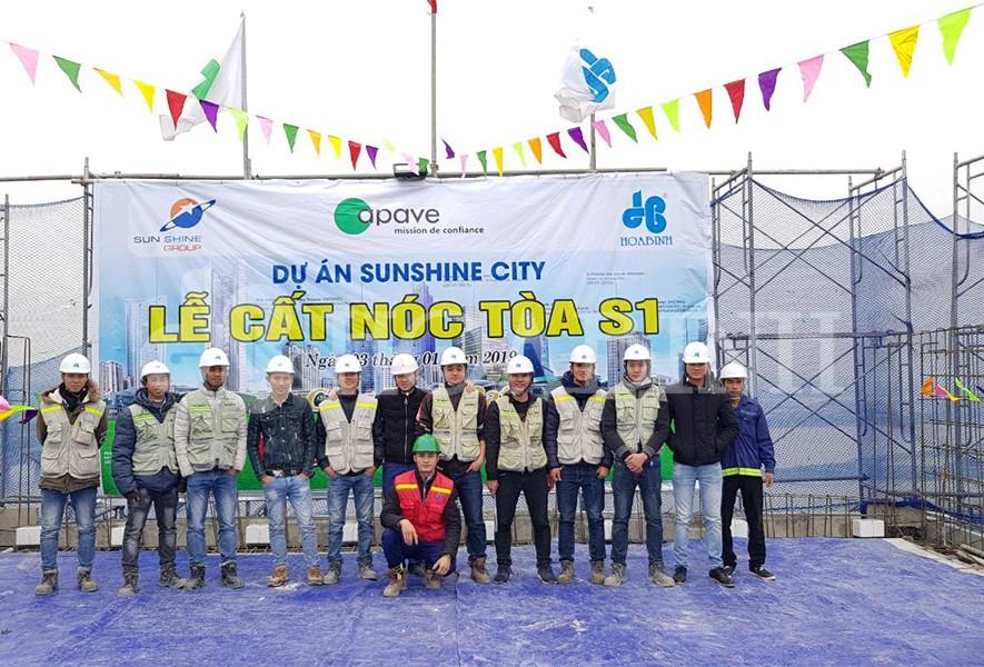 Tập đoàn Xây dựng Hòa Bình cất nóc vượt tiến độ dự án Sunshine City