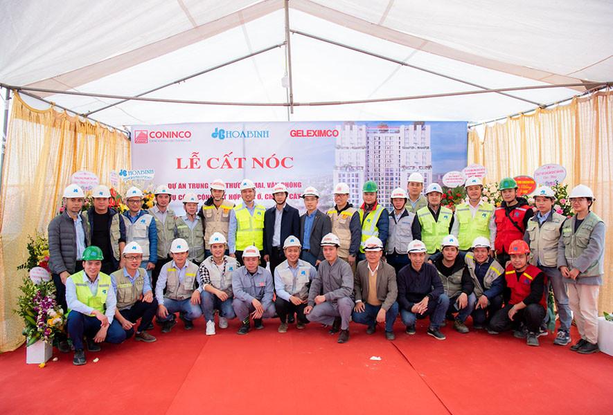 Hòa Bình cất nóc vượt tiến độ dự án Geleximco Southern Star