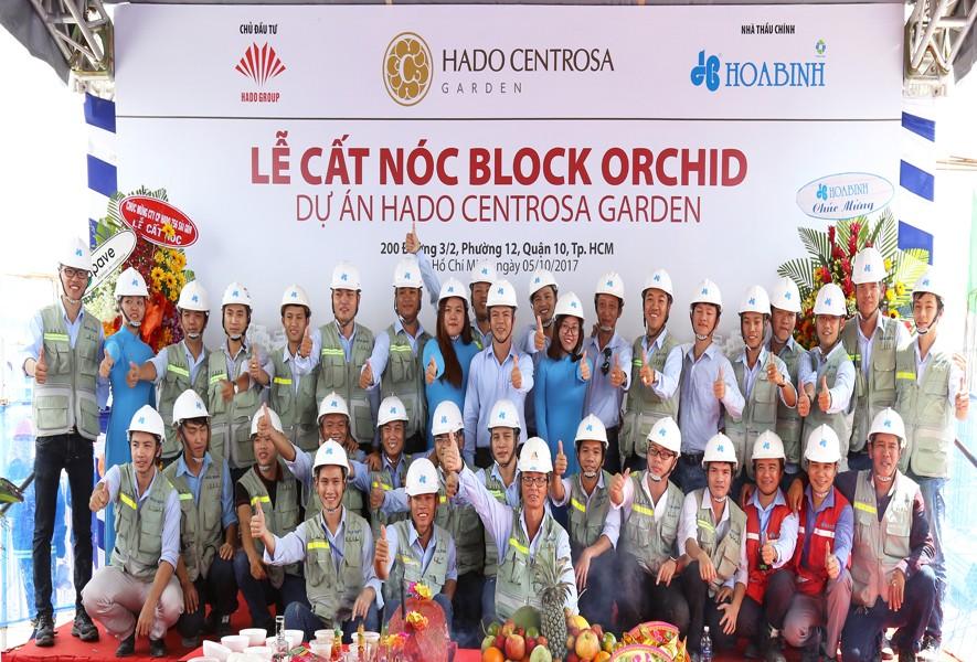 Cất nóc tháp Orchid dự án Hado Centrosa Garden vượt tiến độ 7 ngày - 2